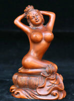 "4"" Chinese Wood Boxwood Hand-carved Kneel Beauty Women Girl Nobe Lotus Statue"
