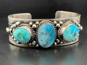 Native American Sterling Silver + Blue Ridge Turquoise Bracelet, Signed