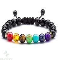 8mm Obsidian 7 Chakra Bracelet Chakas Bless energy Gemstone Stretchy Healing