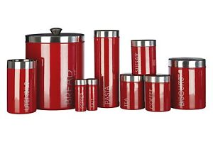 TEA COFFEE SUGAR BREAD BISCUIT or PASTA STORAGE CANISTERS - RED LIBERTY