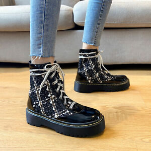 2020 New Fashion Lady Casual Lace Up Fall Winter Ankle Boots Patent Leather Hot