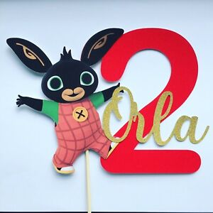 Bing Bunny cake topper Personalised Name Age Glitter Red Gold Birthday Party