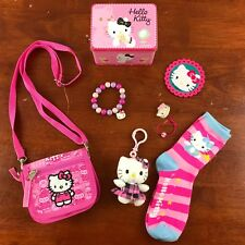 Hello Kitty Lot Music Box Tin Wallet Purse Key Clip Bracelet Hair Tie Sock Patch