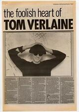 Television Tom Verlaine Interview NME Cutting 1984