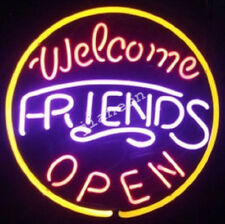"""24 Inches RARE """"Welcome Friends Open"""" Business Shop Window REAL NEON LIGHT SIGN"""