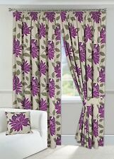 "Wine and Cream Printed Floral Curtains 90"" x 90"" Fully Lined with 2 Tiebacks"