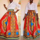 Africano Mujer Estampado Verano Vestido largo cintura alta Playa BOHO falda +