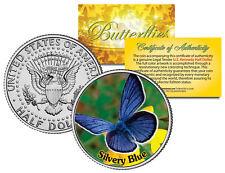 SILVERY BLUE BUTTERFLY JFK Kennedy Half Dollar US Colorized Coin