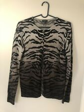 Madison Womens Small 100% Cashmere Sweater Cardigan Animal Print Button Up