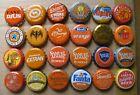 24 DIFFERENT ORANGE THEMED MICRO WORLDWIDE SODA/BEER BOTTLE CAPS