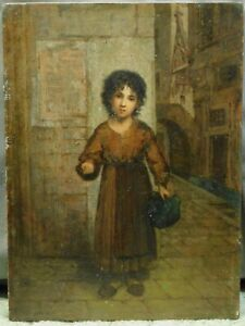 Antique Old Master Dusselforf Germany Oil Painting Wood Panel Street Urchin Begs