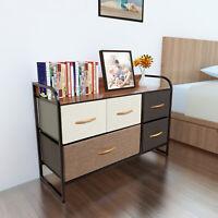 Home Dresser Storage Chest Tower 5 Fabric Drawers Metal Frame Organizer Cabinet