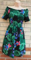 BLACK GREEN LEAVES FLORAL HAWAII SHORT SLEEVE RUCHED BARDOT A LINE MINI DRESS 16