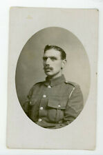 English Soldier with mustache in uniform  vintage RPPC Real Photo Postcard