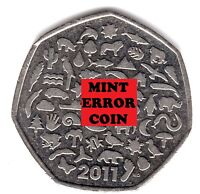 2011 50P ** ERROR ** COIN RARE WWF WORLD WILDLIFE FUND FIFTY PENCE 50th a