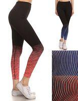Womens Black Ombre Stripe Stretch Yoga Fitness Activewear Leggings Pants