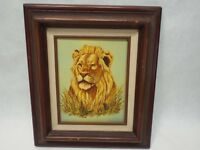 R.SMITH LION IN THE GRASS ORIGINAL OIL CANVAS PAINTING