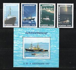 Romania 1997 MNH Sc 4141-4145 Mi 5234-5237+Block 306 Greenpeace.Fleet of ships**