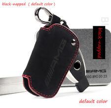 For Benz Remote Key Case Black Suede Leather Car Key Holder Keychians Keyring