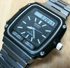 Vintage Seiko Silver Wave H357-5120 Men Analog Digital Watch Hour~Crown Not Work