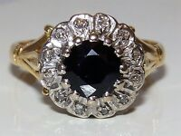 Vintage 18CT YELLOW GOLD 1CT SAPPHIRE &  DIAMOND CLUSTER ENGAGEMENT KATE RING