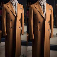 Men's Wool Long Overcoat Outwear Winter Double-breasted Jacket Formal Wear Suits