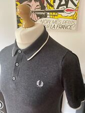 Fred Perry Grey Single Tipped Knitted Polo Shirt S Small Mod Ska Skins Ivy 60s