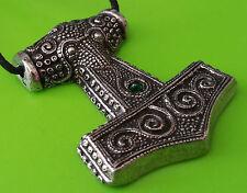 Pewter Viking Skane Thor's Hammer Mjölnir Replica Pendant Necklace  Green Jewel