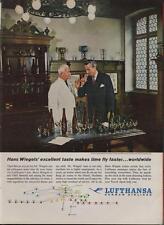 1962 Lufthansa PRINT AD German Airline features Hans Wiegel Langenbach cellars