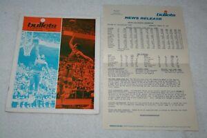 1970 Baltimore Bullets PROGRAM + NEWS RELEASE * vs Philadelphia 76ers 3-18-70