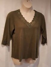 Women's Plus Size 18/20W Gitano Forest Green Lace Embellished Neckline Shirt