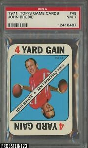 1971 Topps Game Cards Football #49 John Brodie SF 49ers PSA 7 Near-Mint