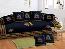 Indian Traditional 8 Pcs Blue Jaipuri Ethnic Diwan set with 5 Cushion, 2 Bolster