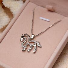 Lovely Running Horse Charm Pendant Necklace Rhinestone Crystal Fashion Jewelry