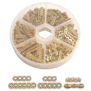 200PCS Antiqued Gold Metal 3-6-Strand Connector End Bar for Jewelry Making