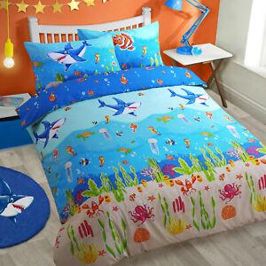 Kids Sea Life Sharks Glow in Dark Duvet Cover Pillowcase Bedding Set