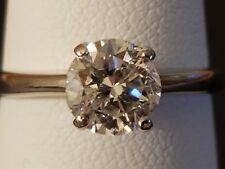14kt White Gold Diamond Round Solitaire Vintage Engagement Ring 1.2 Carat