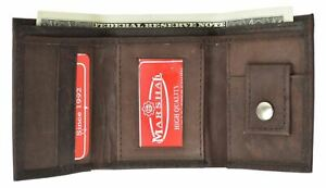 GENUINE LEATHER KIDS SMALL TRIFOLD/MONEY WALLET BY MARSHAL BROWN