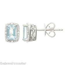 1.02CT AQUAMARINE DIAMOND HALO STUD EARRINGS EMERALD CUT MARCH BIRTHSTONE