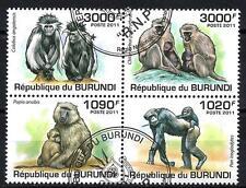 Animaux Singes Burundi (118) série complète 4 timbres oblitérés