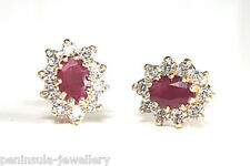 9ct Gold Ruby Cluster Studs earrings Gift Boxed Made in UK