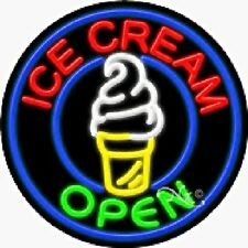 Ice Cream - Open Handcrafted Real Glasstube Neon Sign