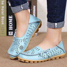 Women Casual Flat Leather Shoes Peas Driving Loafers Breathable Walking Moccasin