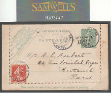 MS2142 1906 FRANCE *TAXE REDOUITE* POSTAL STATIONERY Lettercard Paris *Hotel*CDS