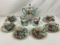 Beautiful Antique 17 PIECE RS PRUSSIA HAND PAINTED ROSES TEA SET!