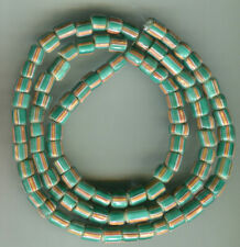 African Trade beads Vintage Venetian glass old green white heart stripe beads