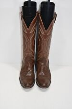 NOCONA WOMENS 5.5 A TEJU LIZARD BROWN LEATHER CLASSIC COWBOY BOOTS ROPERS