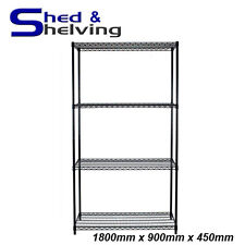 Wire Mesh Cool Room Shelving Black Epoxy Coated Kitchen Laundry 1800x900x450mm