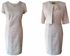 BEIGE CREAM MOTHER OF THE BRIDE GROOM FORMAL OUTFIT 2 PIECE JACKET DRESS SIZE 10