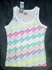 NEW! xs 8 10 ADIDAS white blue top fitted pink vest exercise lounge designer
